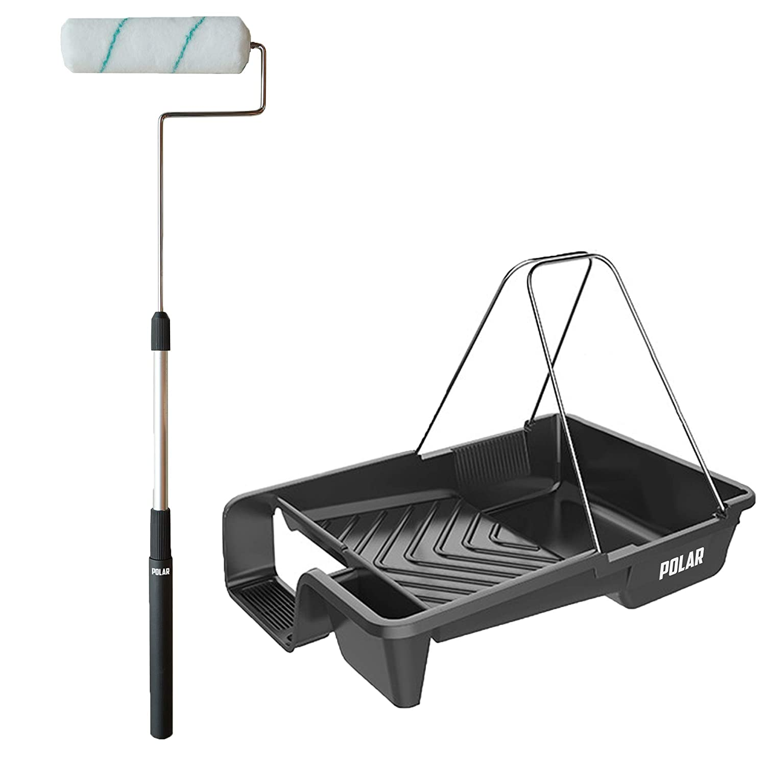 Masonry Walls and Ceilings Polar Premium 9 Paint Roller Set with Extendable Long Roller and Paint Tray with Sturdy Foot Holder and Metal Handle for Painting Floors