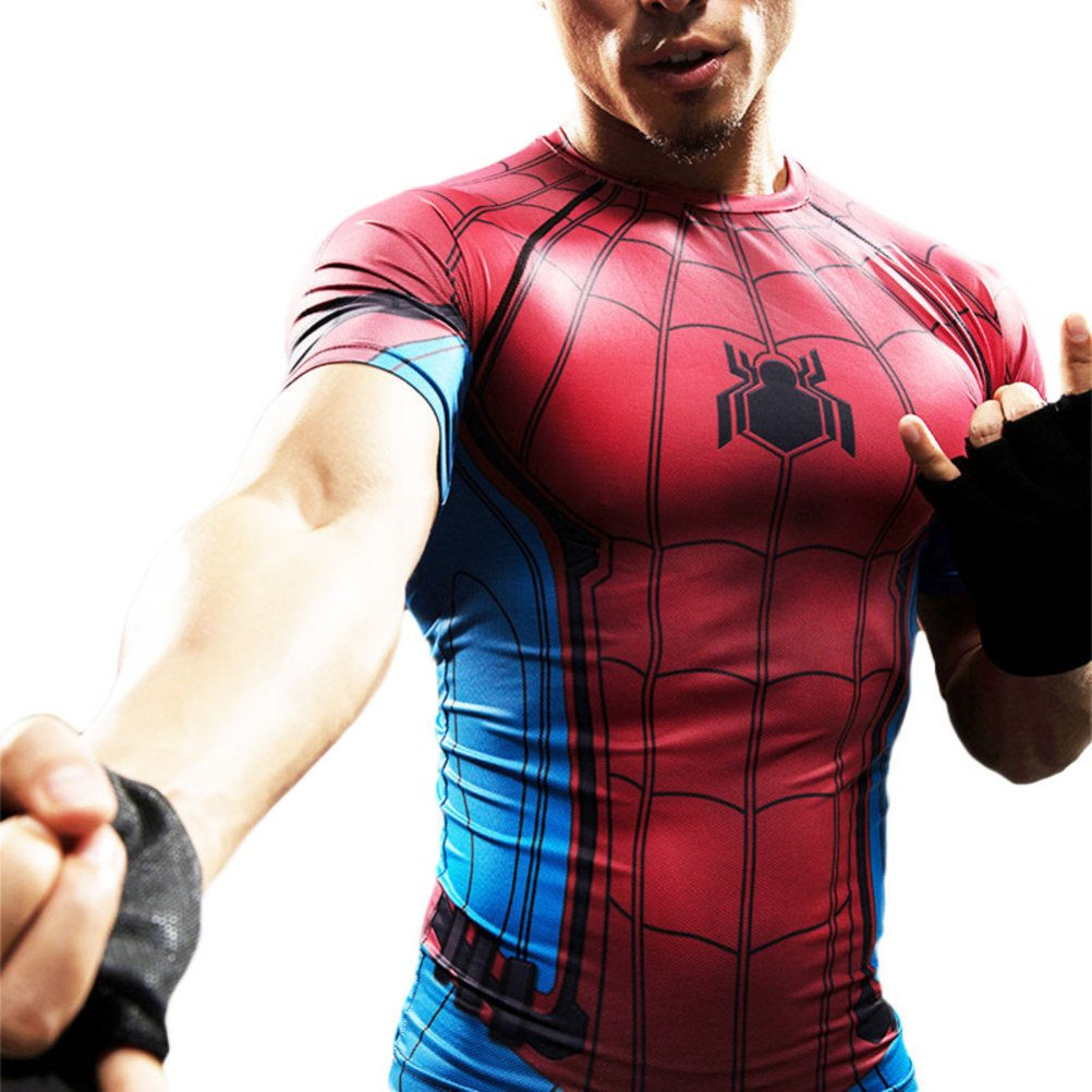 Cool Superhero Spiderman Compression Shirt Dri-Fit Running Workouts Tee