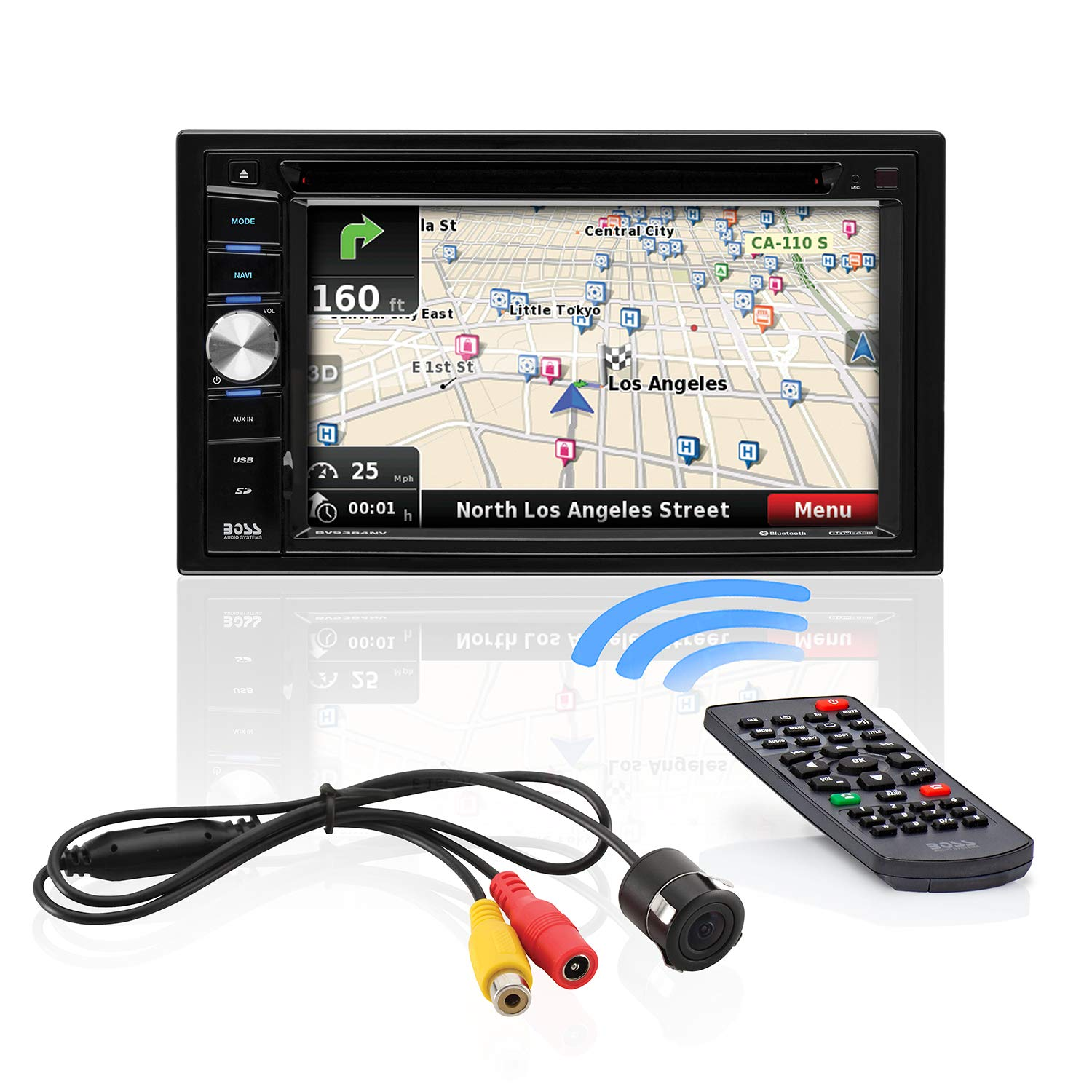 BOSS Audio Systems BVNV9384RC Car GPS Navigation and DVD Player - Double Din, Bluetooth Audio and Calling, 6.2 Inch LCD Touchscreen Monitor, MP3 CD DVD USB SD, Aux-in, AM FM Radio Receiver by BOSS Audio Systems