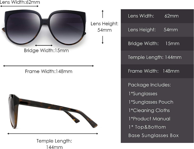 JIM HALO Oversized Polarized Sunglasses for Women Designer Gradient Shades UV400