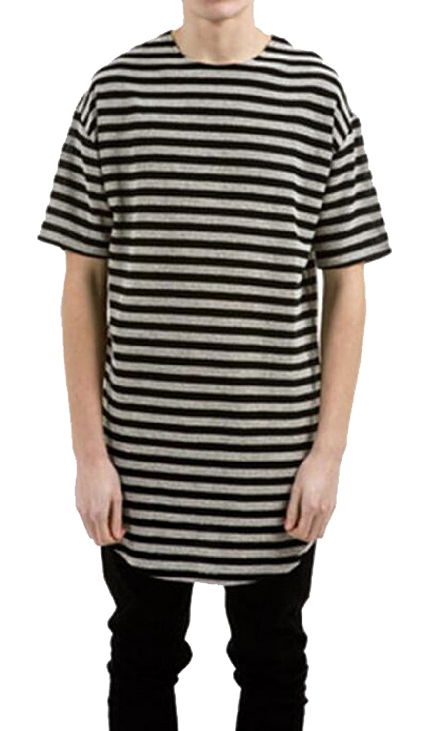 Generic Mens Striped Longline Short Sleeve Basic Solid Crewneck Tee