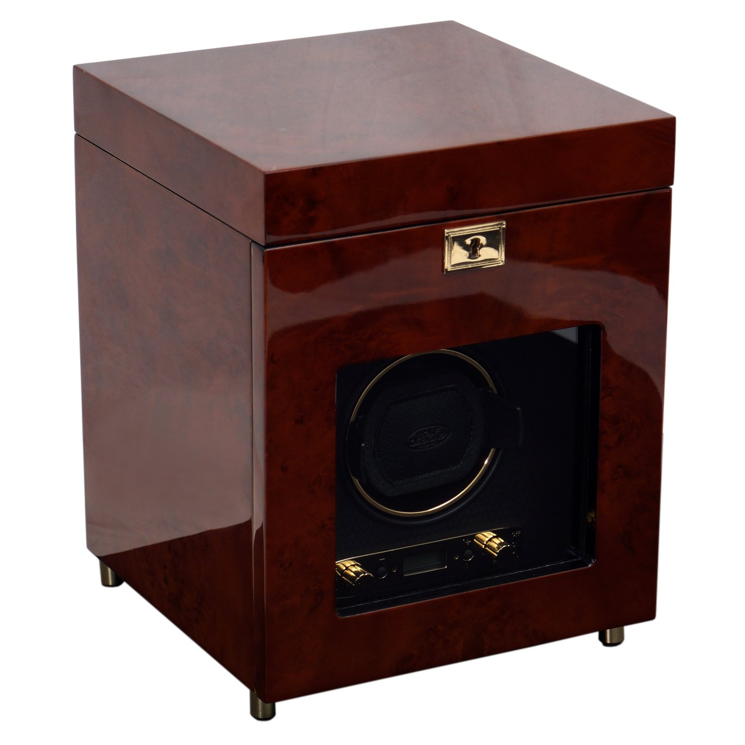 WOLF 454510 Savoy Single Watch Winder with Cover and Storage, Burlwood