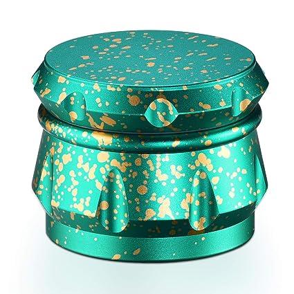Nuevo Multi Color Grinder Especias, Tabaco, Hierbas Grinder 4 Piezas - Dientes en Forma de Diamante Aeroespacial de aluminio - Cian Verde
