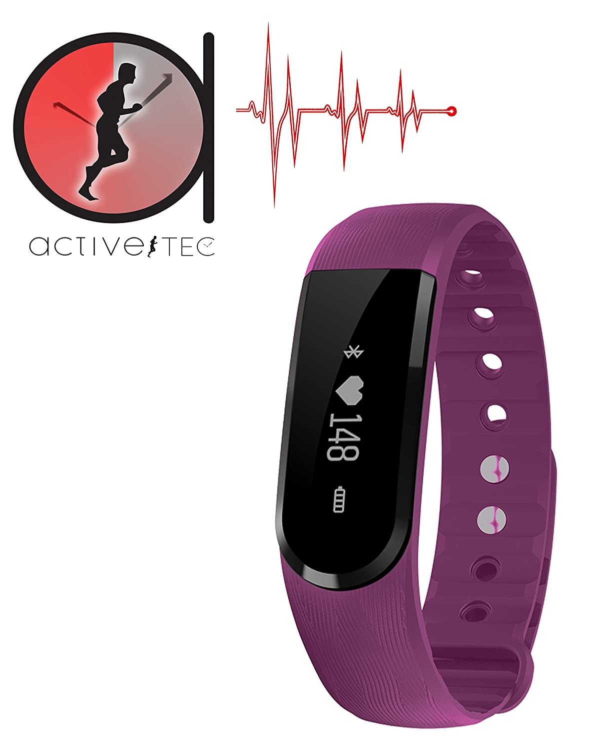 ActiveTec Heart Rate Activity Tracker – Bluetooth Wireless Pedometer Sleep Heart Rate Monitoring Sport Activity Tracker Android iPhone