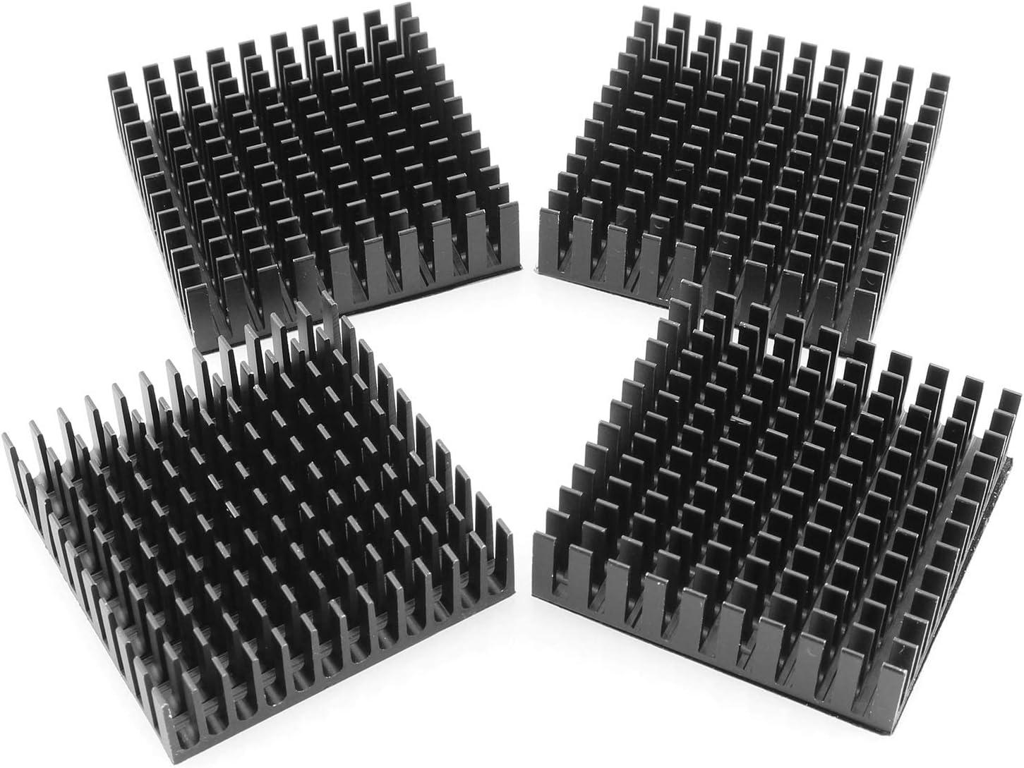 DGZZI Aluminum Heatsink 4PCS 40x40x11mm Black Aluminum Cooling Fin Radiator with 3M Thermal Conductive Adhesive Tape for Cooling GPU IC Chips VRAM VGA RAM