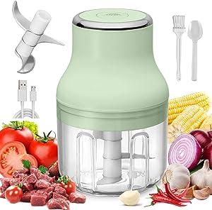 Electric Mini Garlic Chopper,Portable Garlic Press,Wireless Portable Food Processor with USB Charging,Chili Onion Fruits Meat Chopper,Food Grinder, Baby Food Maker,IP68 waterproof, 250ml (Green)