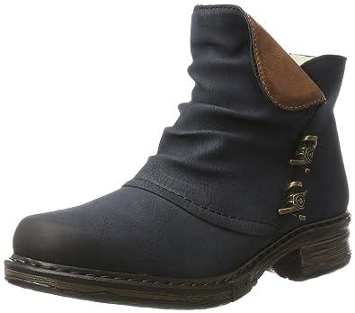 Rieker Damen Gummi Stiefel gefüttert Blau, Schuhgröße:EUR 39