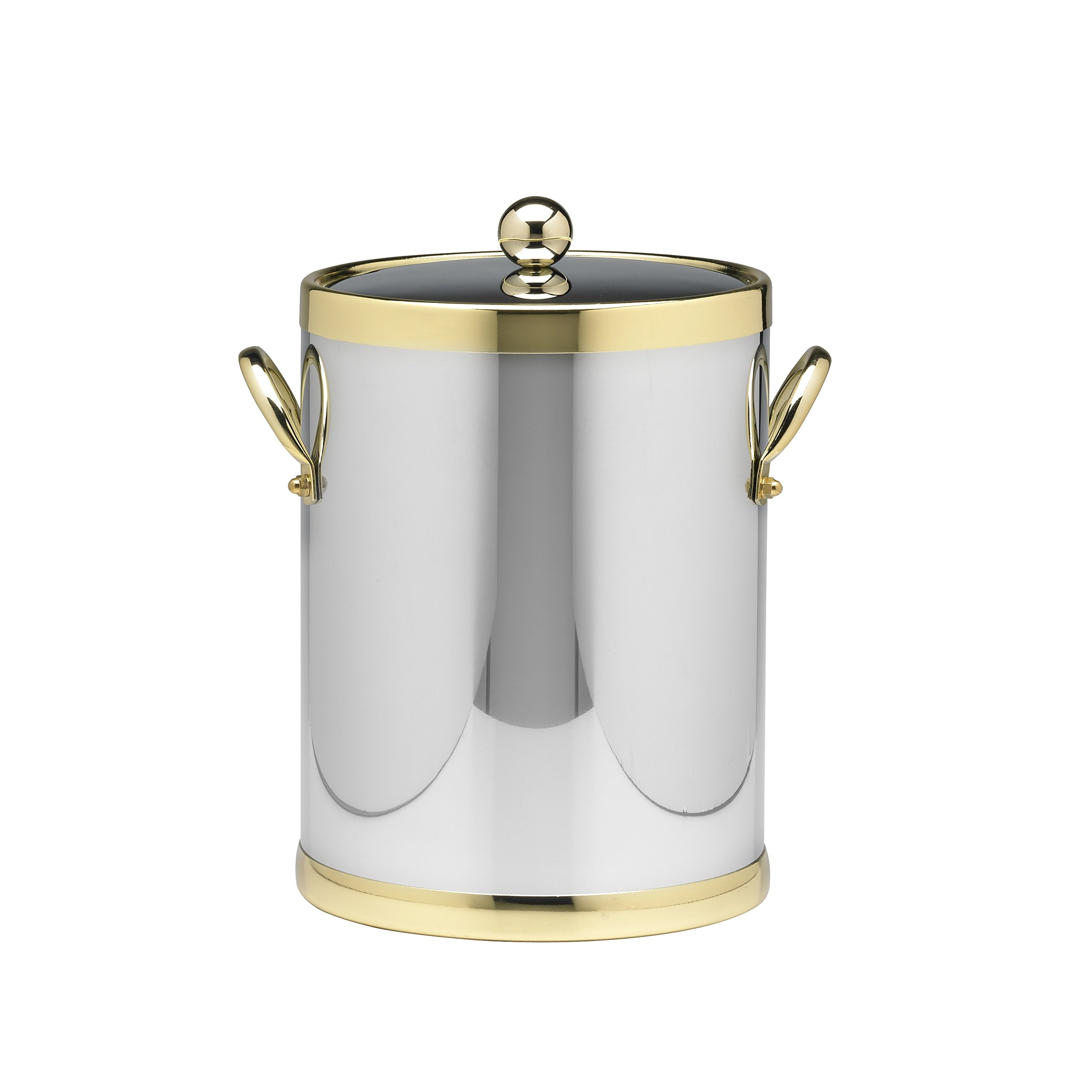 Kraftware Grant Signature Home Polished Chrome and Brass Ice Bucket, 5 quart, Silver