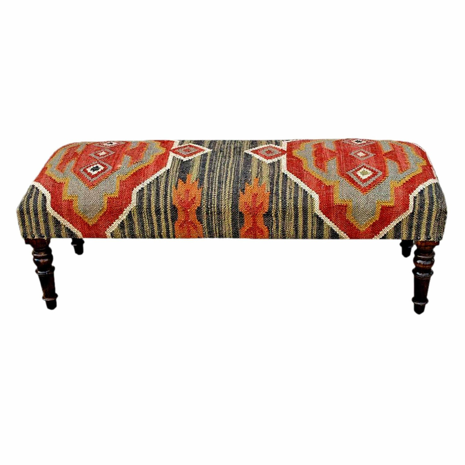 Homescapes Upholstered Kilim Bench Footstool or Rectangular Coffee Table Dark Red Handmade Solid Wood Frame with Traditional Hand woven Wool Rug Cover