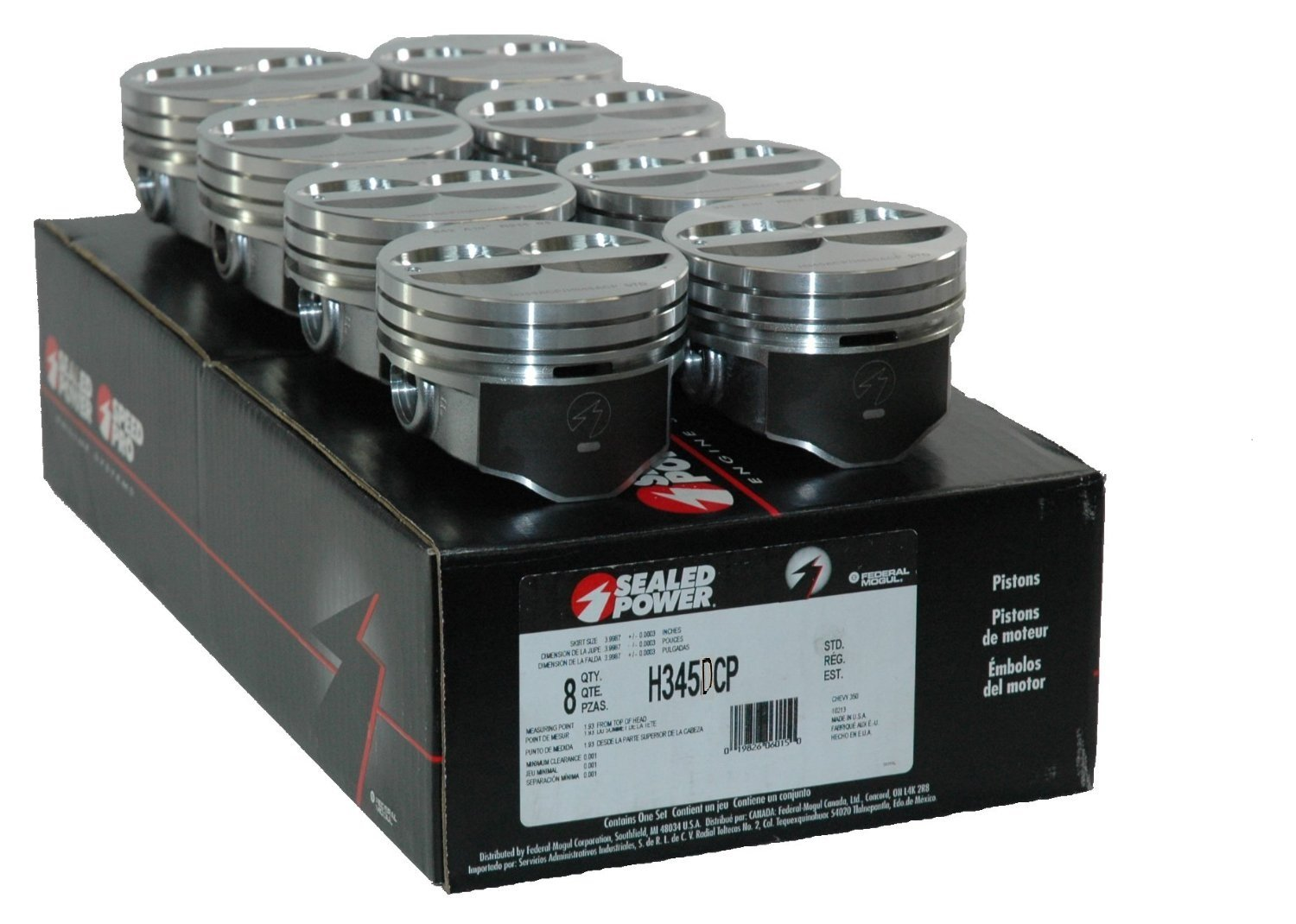 Speed Pro H345DCP 350 Small Block Chevy SBC Flat Top Pistons Coated Piston 5.7' (.030' or 4.030' Bore) Sealed Power