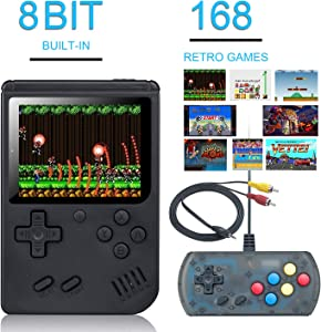 weikin Handheld Game Console, 168 Classic Games 3 Inch LCD Screen Portable Retro Video Game Console Support for Connecting TV and Two Players, Good Gifts for Kids and Adult (Black)