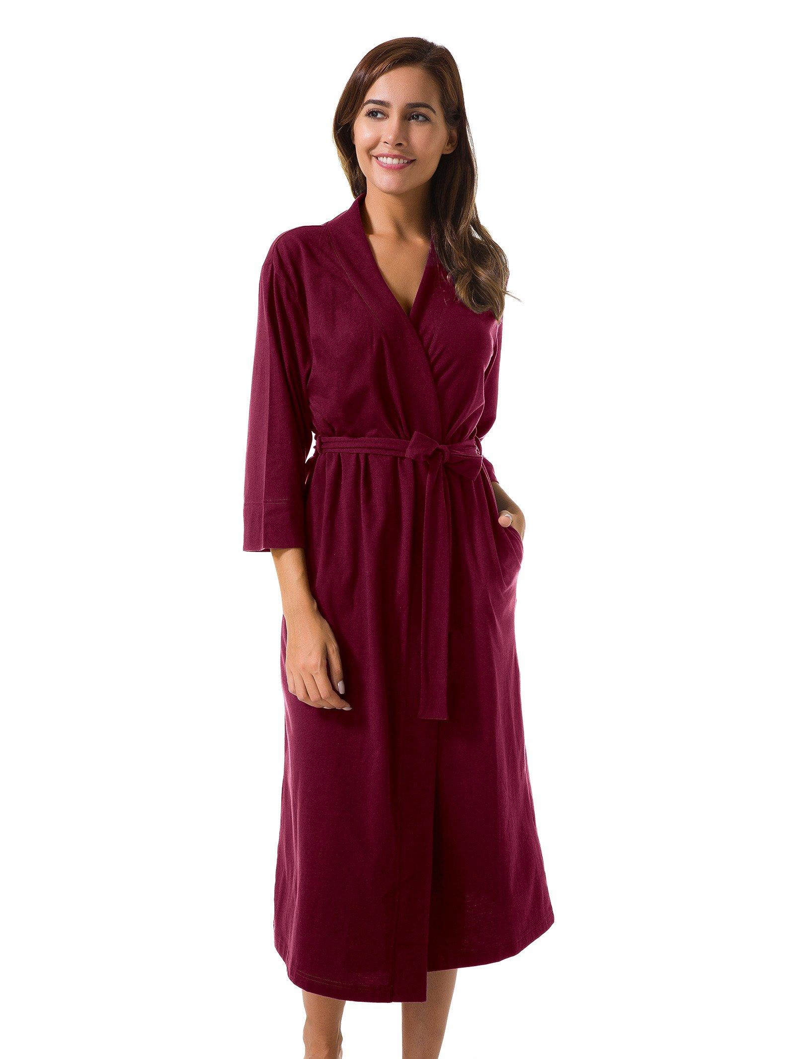 SIORO Cotton Robes Soft Kimono Robe Long Knit Bathrobe Nightwear Lightweight Loungewear Nightdress V-Neck Sexy Sleepwear for Women Burgundy S