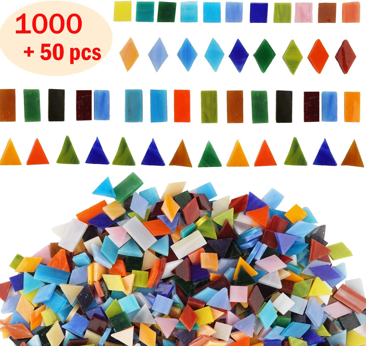 Lanyani 1050 Pieces Mixed Shapes Glass Mosaic Tiles for Crafts, Colorful Stained Glass Pieces for Mosaic Projects