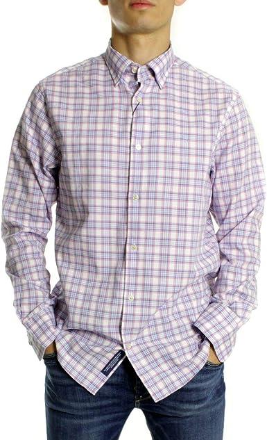 GANT Camisa Cuadros Oxford Azul Rosa: Amazon.es: Ropa y accesorios
