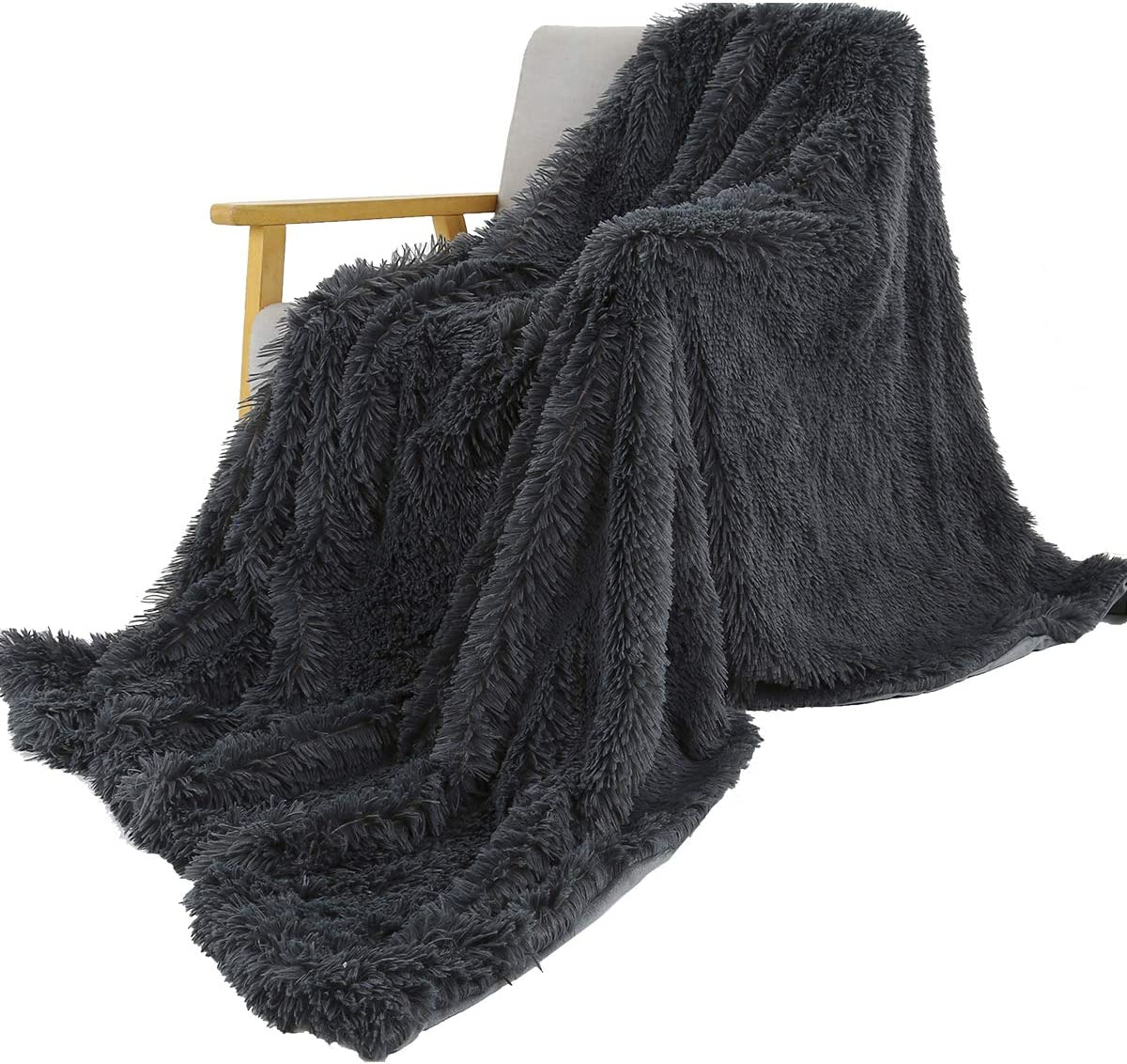 Fluffy Comfortable Throws Blankets for Bed Couch Kids SatisInside USA Luxurious Plush Faux Fur Throws Bed Blankets ,Black 50 x 62 Extra Soft Cozy Warm