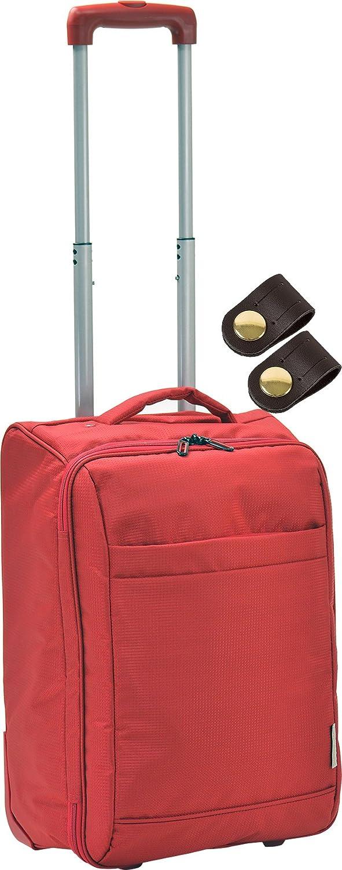 ソフト キャリーバッグ 折畳み可能 男女兼用 機内持込可能 + [タケハチ] 竹八謹製 [牛革製ケーブルバンド2個] セット tm0460 B076GQH2TJレッド9
