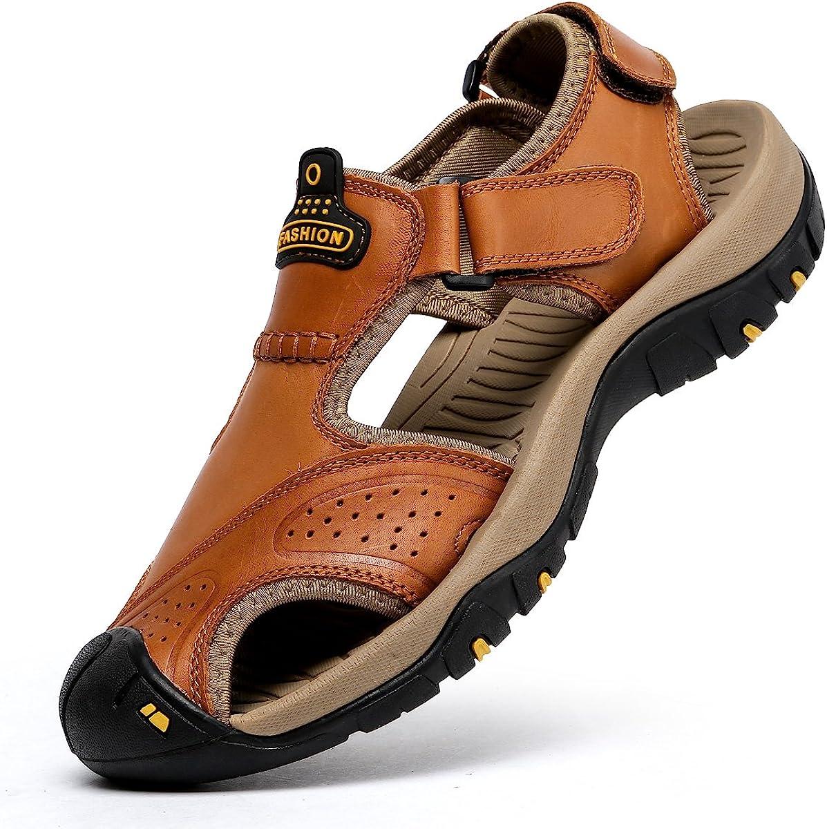 Mens Air Cushion Beach Sandals Fisherman Adjust Strap Walk Open Toe Casual Shoes
