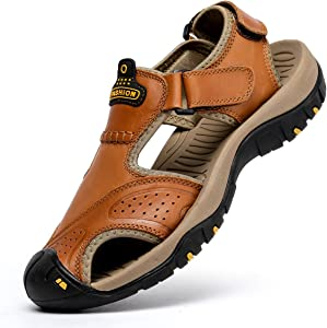 Amazon Giveaway BINSHUN Sandals for Men Leather Hiking...