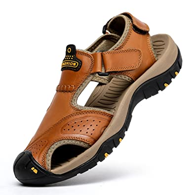 51869d236217 BINSHUN Sandals for Men Leather Hiking Sandals Athletic Walking Sports  Fisherman Beach Shoes Closed Toe Water