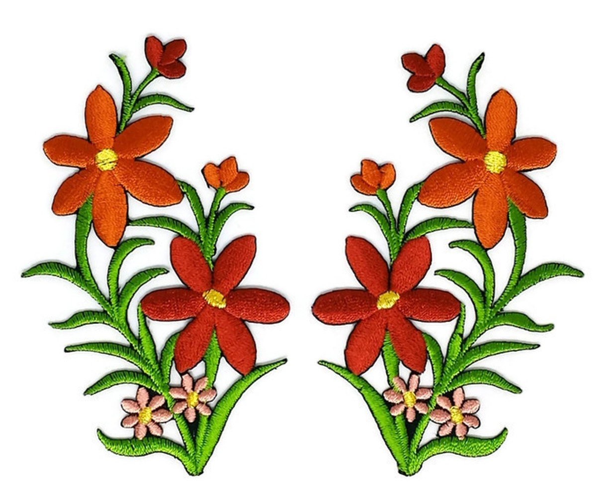 Brown Orange Pair Flower Floral Bouquet Embroidered Sew Iron on Patch Cartoon Sew Iron on Embroidered Applique Craft Handmade Baby Kid Girl Women Cloths DIY Costume Accessories Iron on patches