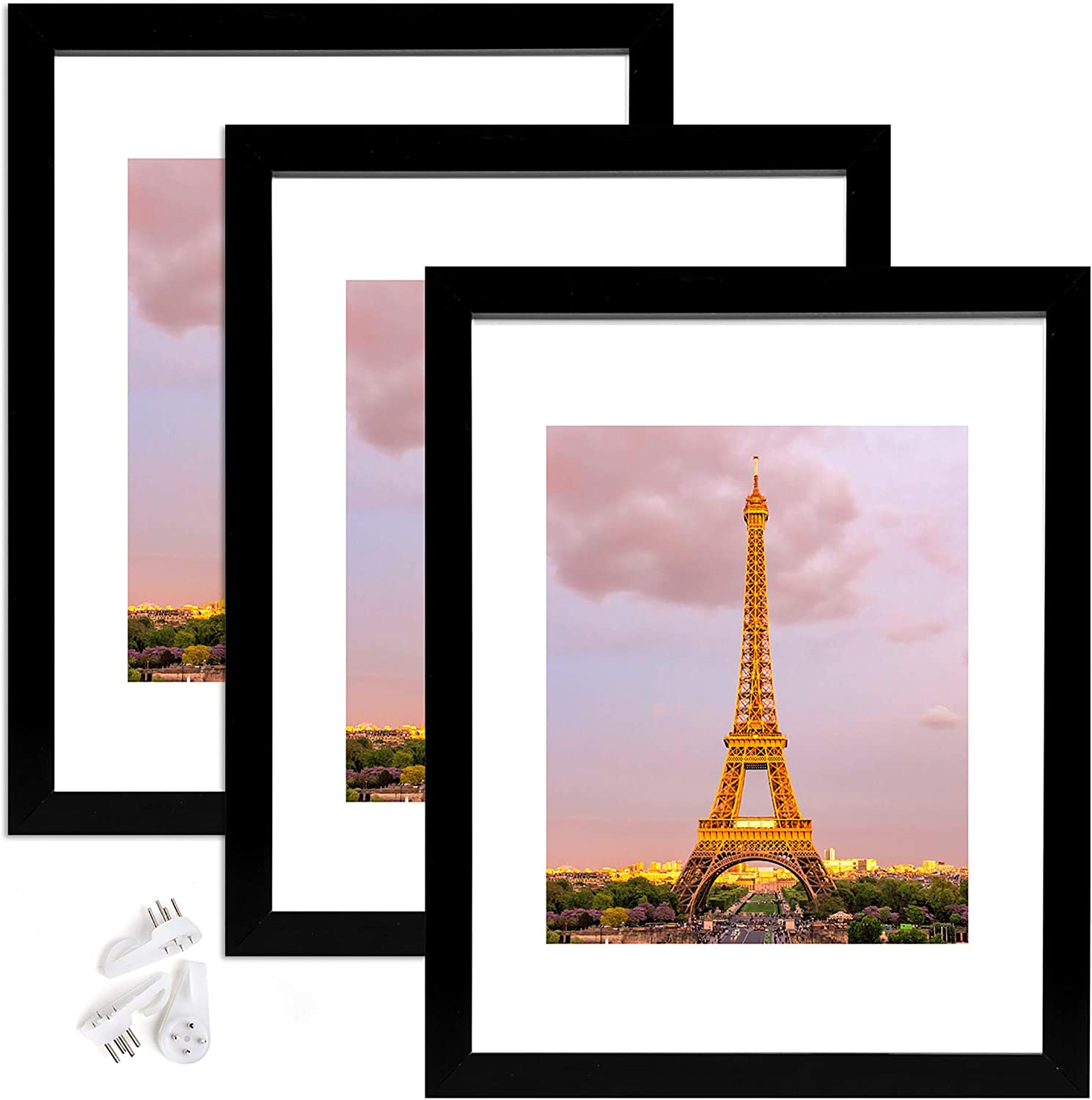 upsimples 11x14 Picture Frame Set of 3, Made of High Definition Glass for 8x10 with Mat or 11x14 Without Mat, Wall Mounting Photo Frame Black -