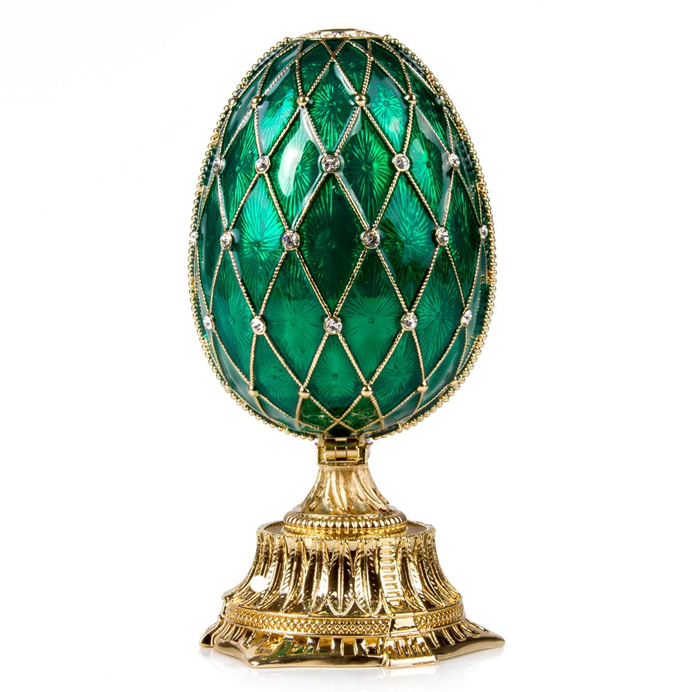 OrlovNY Swarovski Crystals Faberge Egg: Imperial Netting and Clock Egg with Rhinestones in Green