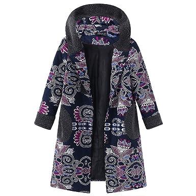 Mambain Cappotti Donna Eleganti Felpe Invernali Caldo Cotone Stampe Fiori  Manica Lunga Taglie Forti con Cappuccio c51191bbea7