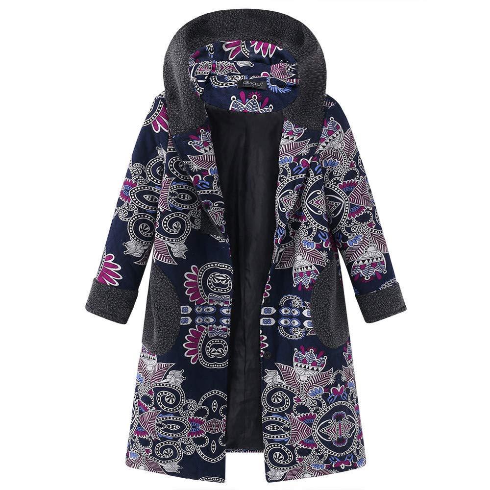 Cotton Hoodies Coats Long Sleeve Vintage Print Fleece Thicken Hasp Button Cardigan Jackets Long Outwear Oversize Ladysdress