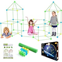 Kids Fort Building Kit Glow in the Dark, 150Pcs Building Toys for 3 4 5 6 7 Years Boys and Girls, STEM Toys Indoor and…