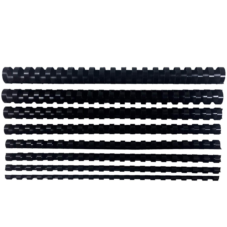 dorsi in plastica per rilegatura 6,8,10,12,14,16,20,22mm, Nero 80pezzi 1-Pack
