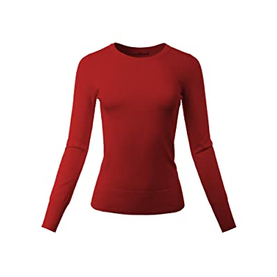 A2Y Women's Fitted V-Neck Long Sleeve Side Slit Viscose Sweater at Women's Clothing store