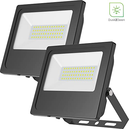 Sunco Lighting 2 Pack 50W LED Flood Light, 250W HID Equivalent, 5000K Daylight, 5000 LM, Outdoor Security Light, IP65 Waterproof, Dusk-to-Dawn Photocell Sensor, Rotatable Bracket – ETL