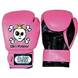 BAY® GIRL POWER pink rosa Kinder Boxhandschuhe 4 6 8 10 Unzen SWEET SKULL Mini Box-Handschuhe Kids Junior Jugendliche schwarz UZ OZ Kinderboxhandschuhe klein Totenkopf Krone