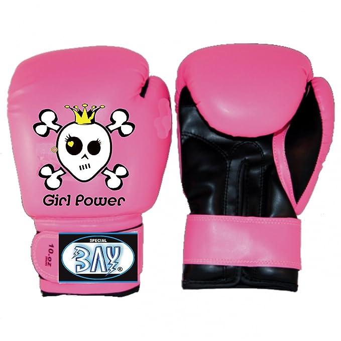 BAY® GIRL POWER pink rosa Kinder Boxhandschuhe 4 6 8 10 Unzen SWEET SKULL Mini Box-Handschuhe Kids Junior Jugendliche schwarz