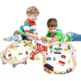 Metropolis City Life Super Highway 70 Pieces Wooden Railway Train Set - Compatible with all major brands
