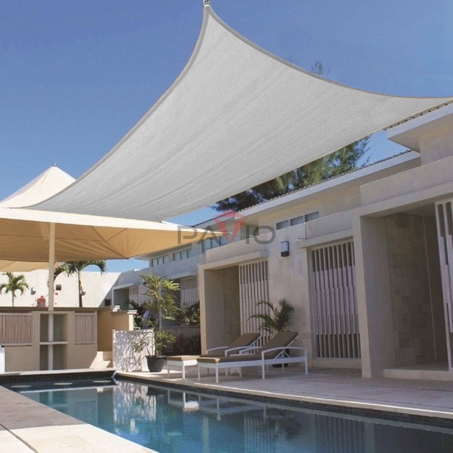 Patio Large Sun Shade Sail 24' x 24' Rectangle Heavy Duty Strengthen Durable Outdoor Canopy UV Block Fabric A-Ring Design Metal Spring Reinforcement 7 Year Warranty -Light Gray by Patio Paradise (Image #4)