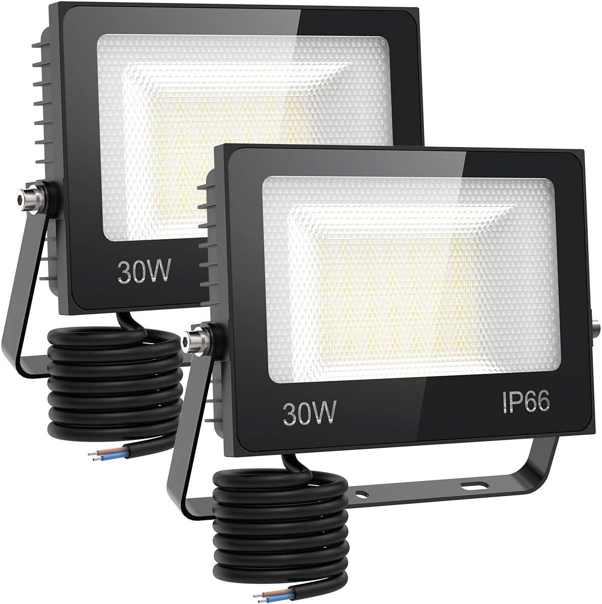 Jard/ín 9000L/úmenes Foco Proyector LED IP66 Impermeable 6500K Luz de Blanca para Terraza Patio Parque 100W Focos LED Exterior Garaje Almac/én
