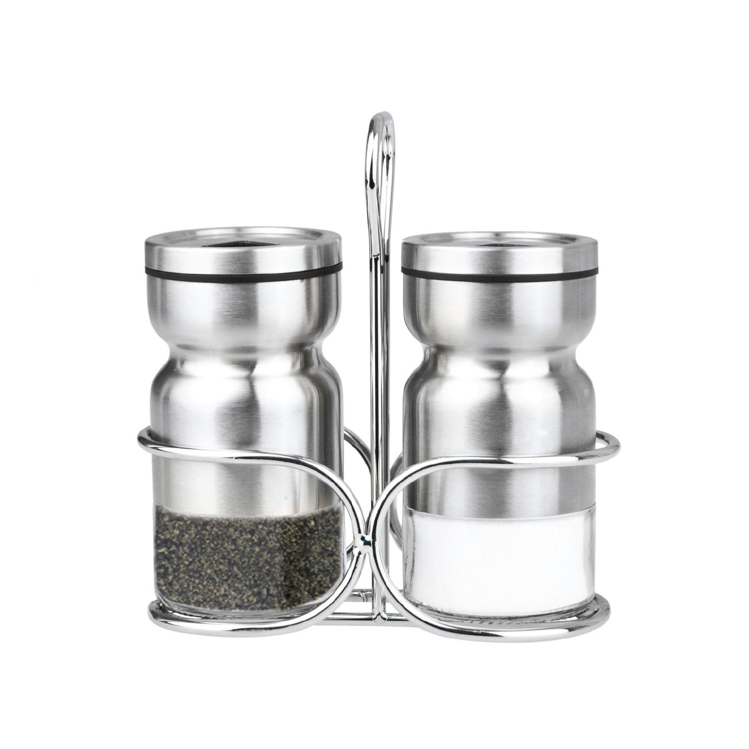 Cuisinox Salt and Pepper Shaker Set with Caddy Silver