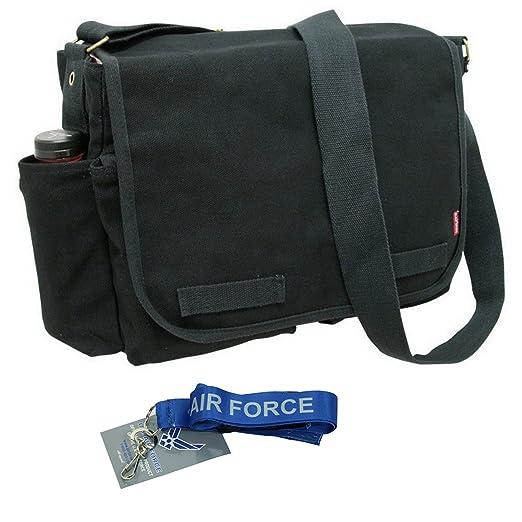 Amazon.com  RD Classic Military Messenger Bags with Lanyard (Black ... b88c40c0435