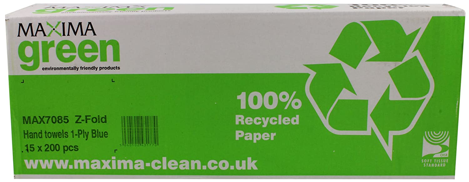 Maxima Z-Fold Hand Towel, Pack of 15, Blue Cleaning & Paper Disposables plc CPD43177
