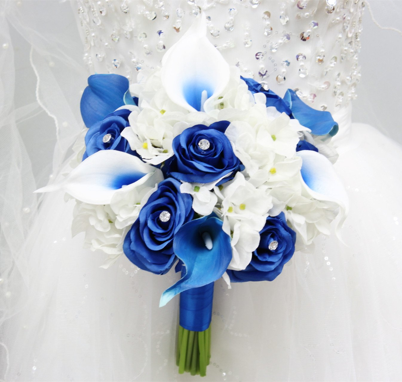 Angel Isabella Beautiful Hand-Tied Bouquet-Hydrangea Rose Calla Lily-Colors in Navy Wine Burgundy Fuchsia Raspberry Mint Spa Coral Turquoise Horizon Blue (White/Royal Blue, 9'') by Angel Isabella