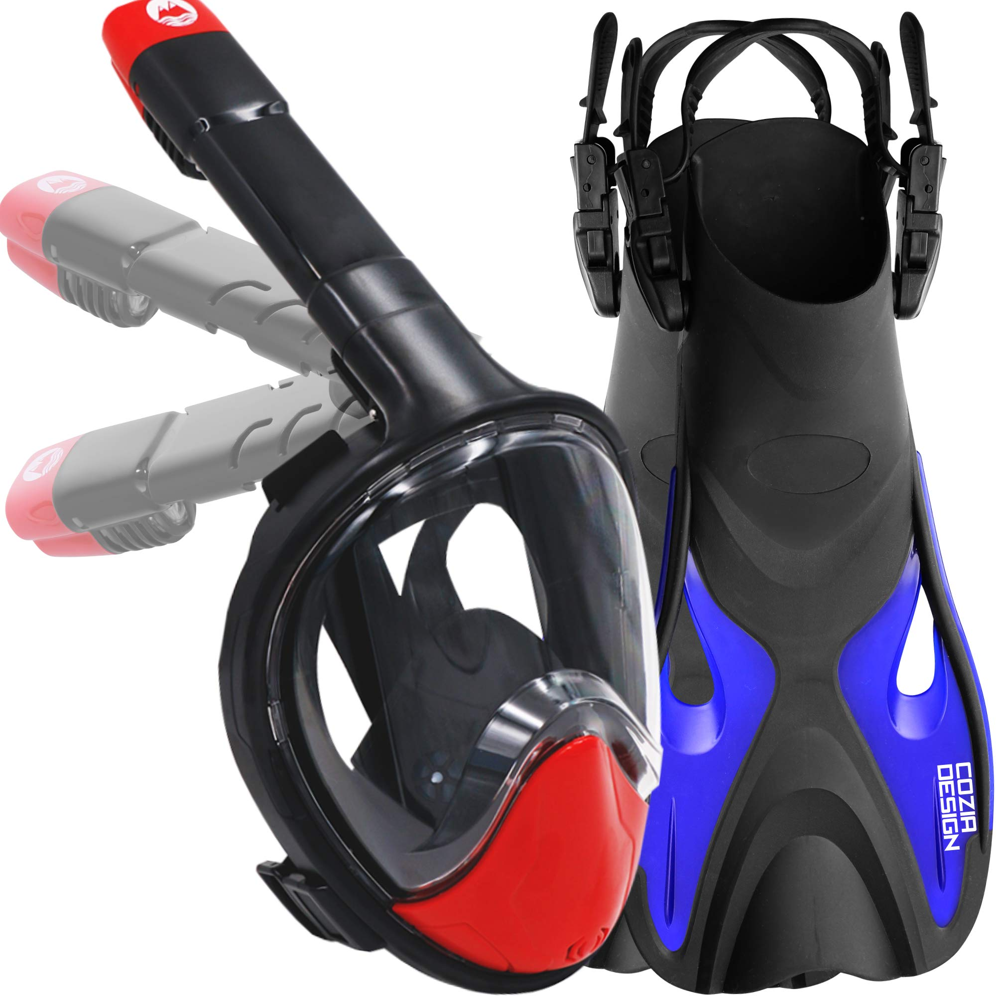 cozia design Snorkel mask with fins (Snorkel Set, Mask M with fins (4.5 to 8.5)) by cozia design