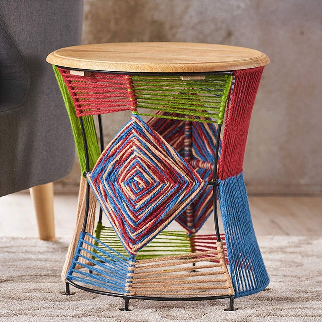 ZTMN Kreativ handvävd bänk, järnkonst skobänk liten pall, multifunktionell färgglad litet bord (färg: B) en