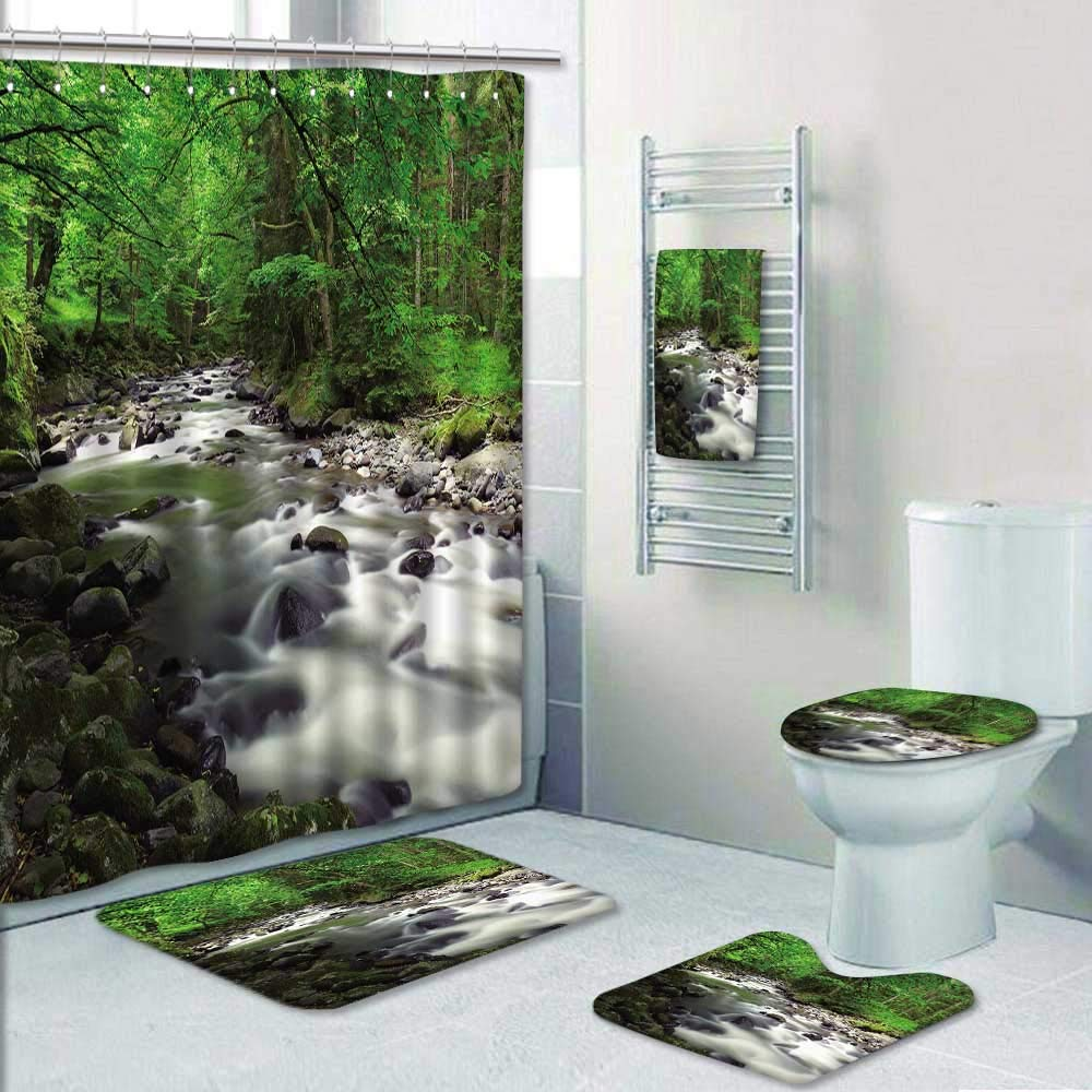 Philip-home 5 Piece Banded Shower Curtain Set Mountain River in The Wood Decorate The Bath
