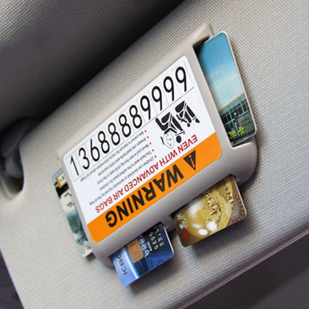 Vanker - Organisateur de poche en plastique pour pare-soleil de voiture - Support de rangement pour carte - Clip de pare-soleil (gris)