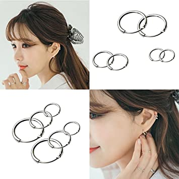 ed78d43c4 Image Unavailable. Image not available for. Color: Cnlinkco Round Earrings  Hoop Small Sleeper Hoops Earrings 3 Pairs ...