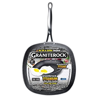 Graniterock Non-stick, No-warp, Mineral-enforced Square Pan PFOA-Free As Seen On TV (12-inch)