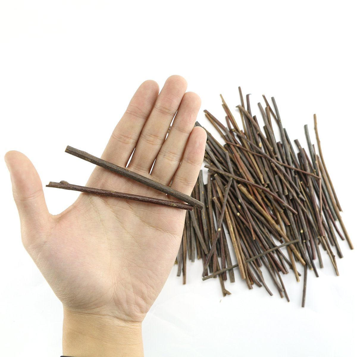 TKOnline 100Pcs 10cm 0.1 0.2 Inch in Diameter Wood Log Sticks for DIY Crafts Photo Props