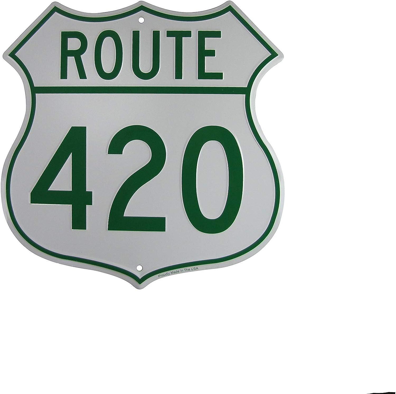 TG,LLC Treasure Gurus US Highway Route 420 Embossed Metal Sign Funny Weed Humor Wall Decor