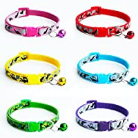 ICYANG 6 Pieces Pet Cat Dog Collars Soft Nylon Adjustable Collar with Bell for Pets Pet Kitten Puppy Camo Puppy Kitten…